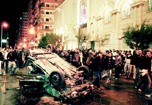 Car exploded in front of coptic church.jpg